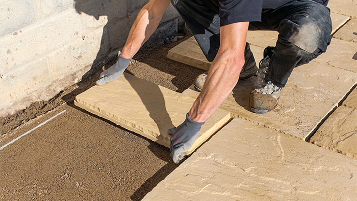 Укладка плитняка на песок